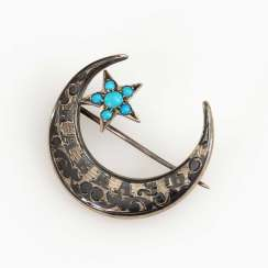 Russian Tula-silver brooch with turquoise