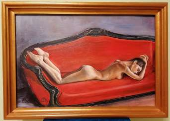 "Oil painting ""Lying on the sofa"" 40x60 cm., 2020 yr."