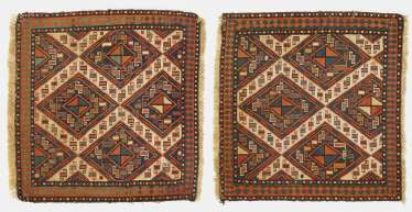 Pair of antique pocket fronts in Sumak technique