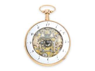 Pocket watch: 18K rose gold pocket watch with Repetition and skeletonised figure automaton Jacquemart, CA. 1820