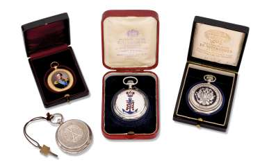 FOUR ENAMEL, SILVER AND GOLD POCKET WATCHES