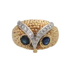 Owl ring with sapphires and diamonds