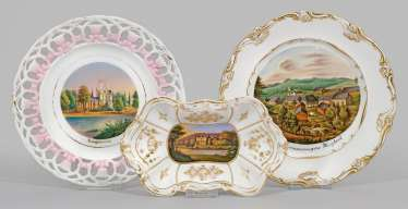 Bowl and two plates with the Thuringian views