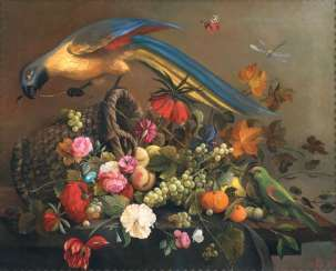 Fruit basket with flowers and parrots