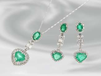 Chain/necklace/earrings: extremely high quality, very attractive set with fine diamonds/diamonds and precious emeralds, total approx. 6,5 ct