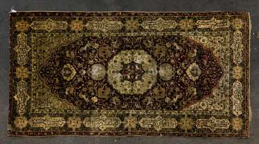 Oriental rug made of silk, 1. Half of the 20. Century., 206x110 cm
