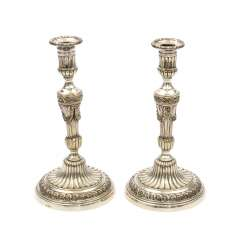 ARMAND FRÉNAIS, Paris, Pair of candlesticks, silver-plated, 19./20. Century