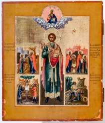 A finely painted icon of the Holy doctor, the patron Saint Panteleimon with scenes from his life