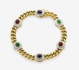 Curb chain bracelet with rubies, emeralds, sapphires and small diamonds