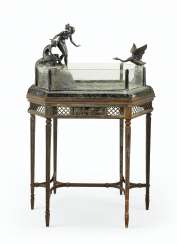 AN AUSTRIAN PATINATED BRONZE AND VERTE DE MER MARBLE AQUARIUM, ON STAND