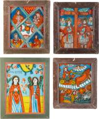 FOUR LARGE GLASS ICONS: THE HEAVENLY TABLE, OF THE PROPHET ELIAS, CONSTANTINE AND HELENA, AS WELL AS THE ANNUNCIATION