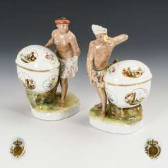 Pair of allegories of the continents on spice jars
