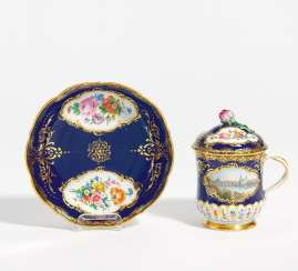Lidded cup with Dresden view