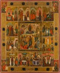 A MONUMENTAL ICON WITH THE RESURRECTION AND DESCENT INTO HELL WITH Twelve Feasts and the Four Evangelists Russia