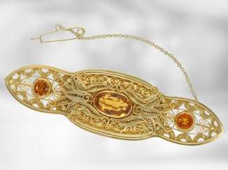Brooch/needle: exceptional gold work with citrine trim, made in a historical pastiche style, approx. 6,89 ct, very expensive hand-wrought, with Expertise, NP 9400€