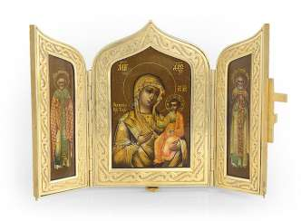 A Silver-Gilt Triptych of the Iverskaya Mother of God, St Nicholas the Miracle-Worker and Sergei of Radonezh with Enamelled Cross