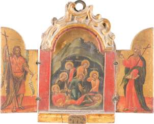 A FINE TRIPTYCH WITH THE SEVEN SLEEPERS OF EPHESUS