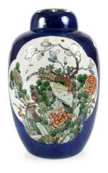 Cover vase with 'Famille verte'decoration on powder blue ground