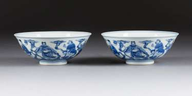 PAIR OF BOWLS WITH THE DEPICTION OF THE EIGHT IMMORTALS