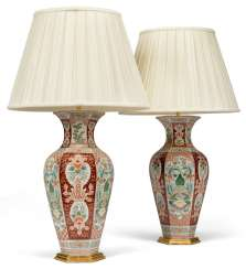 A PAIR OF CHINESE FAMILLE VERTE PORCELAIN VASES, MOUNTED AS LAMPS