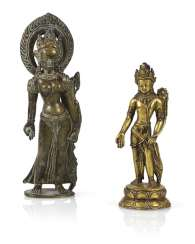 Two bronze sculptures of standing Tara