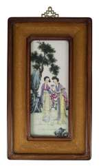 Porcelain painting of two ladies in the garden