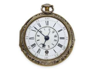 Pocket watch: early, large and highly interesting English double case-Spindeluhr with Alarm, master watchmaker, Joseph Martineau Senior No. 557, London CA. 1740-50