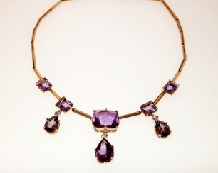 Necklace with amethysts and diamonds