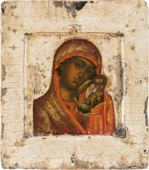 A SMALL ICON WITH THE MOTHER OF GOD OF KAZAN (KASANKSAYA) Russia