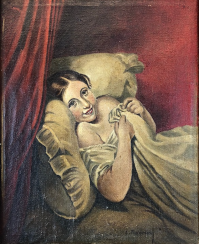 L. death of man: the girl in the bed. Oil on canvas.