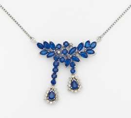 Sapphire and diamond pendant chain