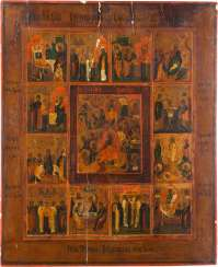 LARGE-SCALE ICON OF THE DESCENT INTO HELL AND RESURRECTION OF CHRIST AND TWELVE HIGH-STRENGTH