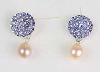 Tanzanite Pearl Earrings