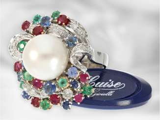 Ring: gorgeous Designer wrought gold ring with a large cultured pearl and brilliant-Color/stones, Italian handmade, unworn