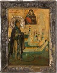 A SMALL ICON WITH THE HOLY NILE OF STOLOBNOE WITH VERMEIL-BASMA Russia