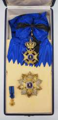Belgium: order of Leopold II., 2. Model (since 1951), Grand cross set, in a case.