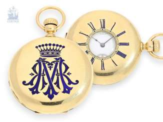 Pocket watch: rare Gold/enamel Patek Philippe half-savonnette with a unique enamel decoration, No. 23294, from the former property of a Polish count, Geneva, 1865