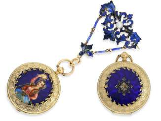 Pocket watch/Anhängeuhr: Patek Philippe, rare, early, early, early Gold/enamel ladies watch with brooch, Patek Philippe No. 7831, for the Polish market, to 1856