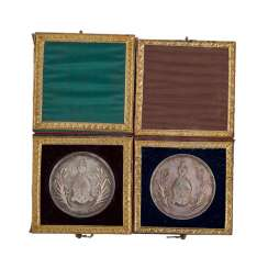 Ulm - 2 diligence medals in original case, approx. 1863/64,