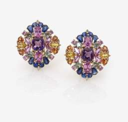 A Pair of stud pin clips with multi-coloured sapphires, diamonds and amethysts, Italy, 2000s