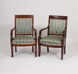 Pair of Charles X armchairs with dolphin decor