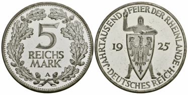 GERMANY 5 MARK 1925 A,