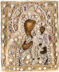 LARGE ICON OF THE MOTHER OF GOD OF SMOLENSK (SMOLENSKAYA) WITH PEARL-OKLAD