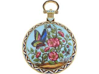 Pocket watch: fine Gold/enamel pocket watch for the Chinese market, Bovet,