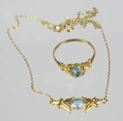 Blue Topaz necklace & Ring - yellow gold 333