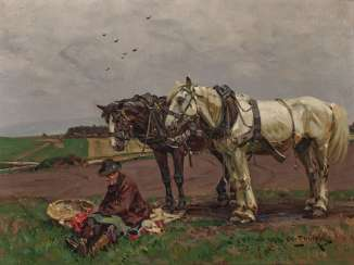 Resting farmer with two field horses