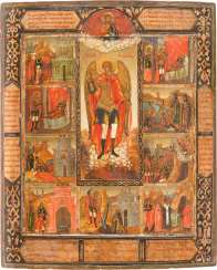 VERY RARE AND LARGE ICON OF THE ARCHANGEL MICHAEL AND NINE OF HIS MIRACLES