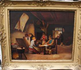 German school 19. century card players, oil on panel framed
