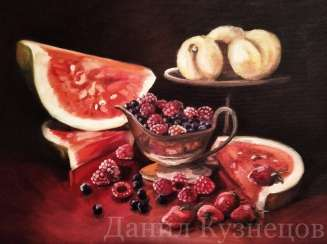 "Oil painting ""Berry expanse"""