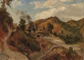 Southern mountain landscape with farmhouses